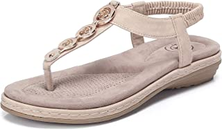 Women's Ankle T Strap Flat Sandals Bohemia Beaded Rhinestone Sandal Summer Beach Slip on Shoes