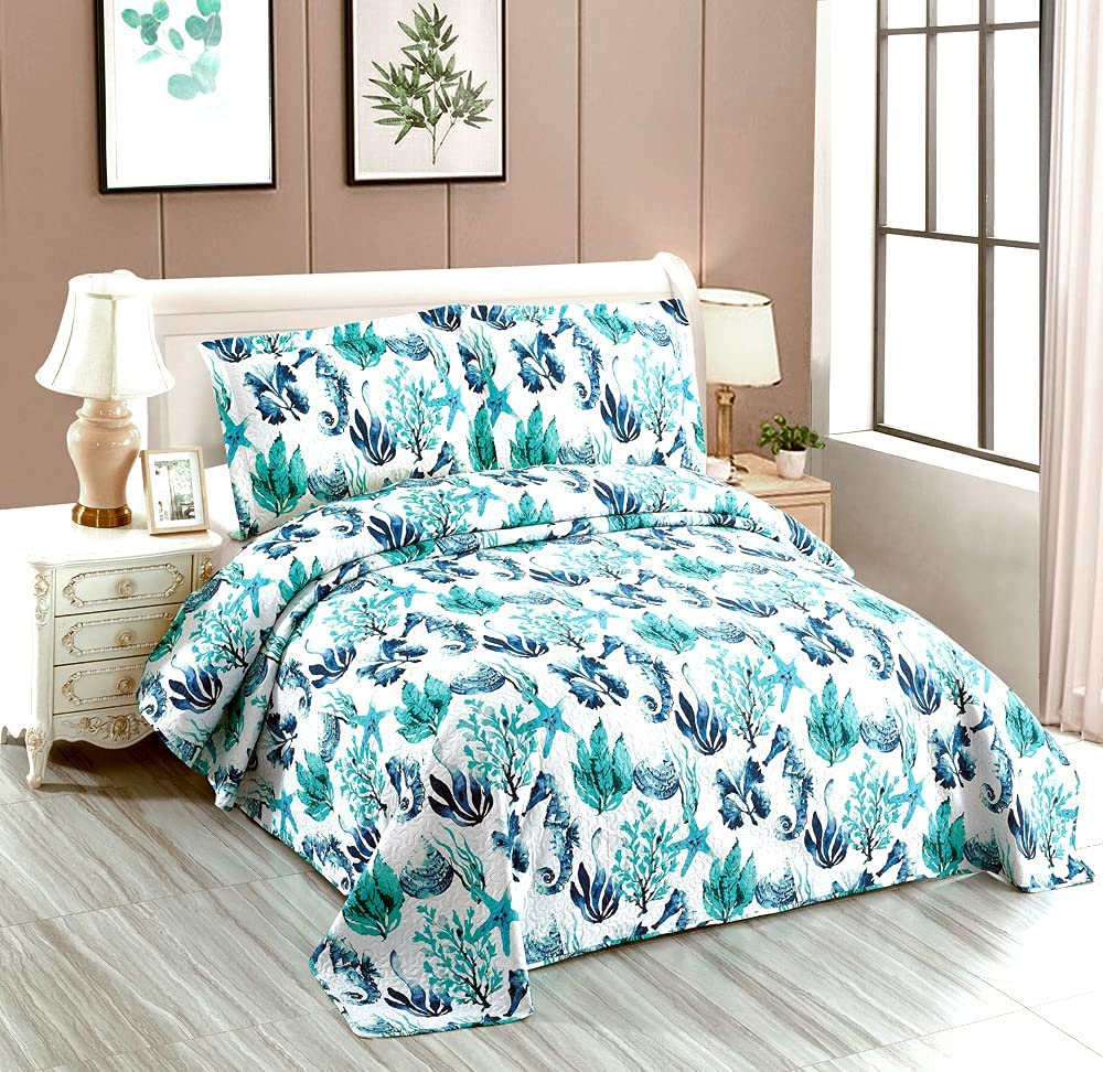 3 Piece Bedspreads Queen Size Lightweight Limited time sale Bedding San Jose Mall Ocean Reversib