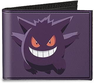 Buckle-Down Canvas Bi-fold Wallet-Gengar Pose1 + Pose2 Corner Purples