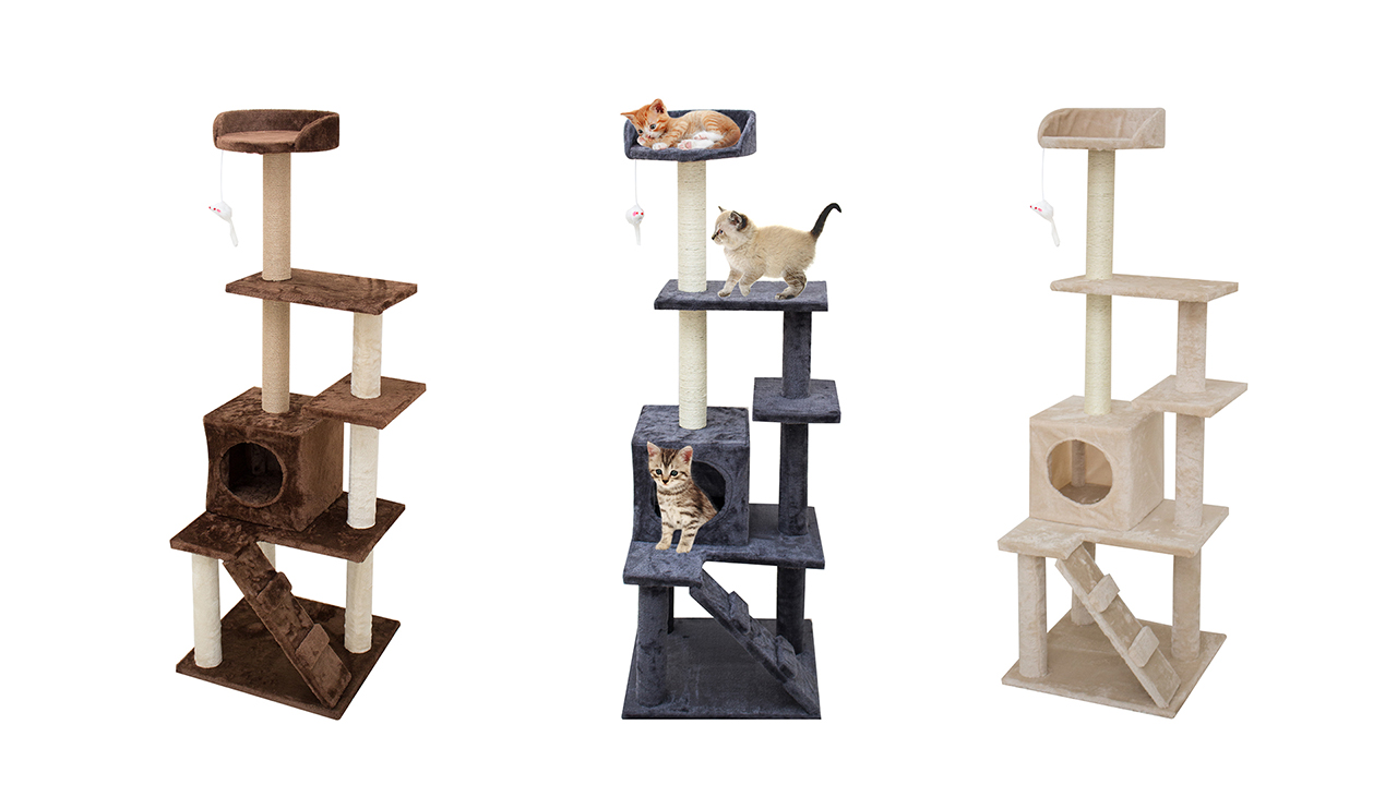 67i Multi-Level Cat Tree Cat Tower with Scratching Posts Cat Condo Cat House 55 inches Activity Tower for Cats Kittens Activity Tower Pet Play House Furniture Indoor Activity Relaxing