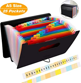 Expanding File Folder Small Size,10x6.7 Inches,Accordian File Organizer 25 Pockets,Portable Filing Box,Expandable Standing Colored Accordion Folders for Paper,Coupons,Bills,Receipts,Documents Storage