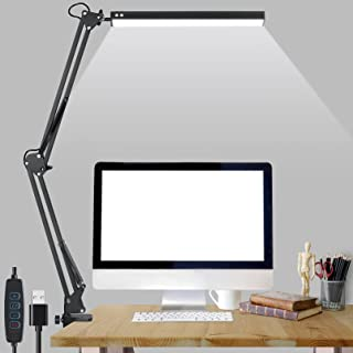 HIMOON LED Desk Lamp, Desk Light with Clamp,Adjustable Metal Swing Arm Eye-Caring Table Light,10W Black 3 Lighting Modes &...