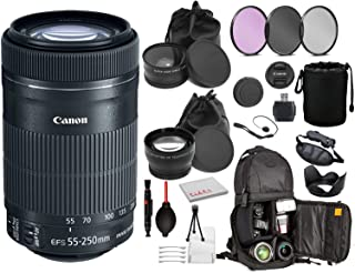 Canon EF-S 55-250mm f/4-5.6 is STM Lens (8546B002) Lens with Bundle Package Kit Includes- 3pc Filter Kit (UV, CPL, FLD) + ...
