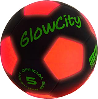 GlowCity Glow in The Dark Size 5 Soccer Ball-Black Light...