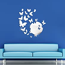 Walplus WSM2057 14 Wall WSM2019 Butterfly Mirror Art, Silver