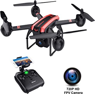SANROCK X105W Drones with Camera for Adults 720P HD WiFi Real-time Video Feed. Long Flying Time 17Mins, Altitude Hold, Gravity Sensor, Route Made, One Key Take Off/Landing, Great Gifts for Boys.