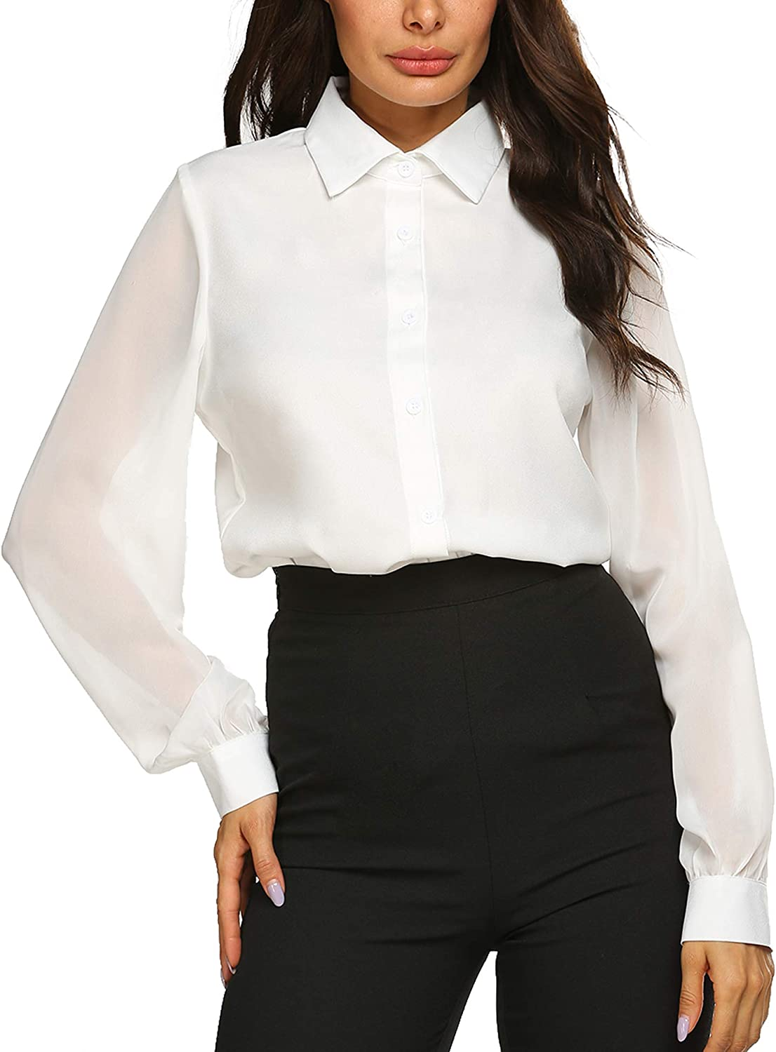 Womens Blouses Bow Tie Neck Long Sleeve Office Work Chiffon Elegant Patchwork Casual Button Down Shirts