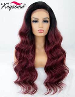 K'ryssma 99j Lace Front Wig Ombre L Part Long Wavy Synthteic Wig Deep Side Parting Burgundy Wigs for Women Glueless Ombre Wig with Black Roots 22 inches