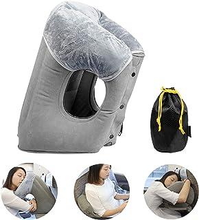 Almohada de viaje inflable FengNiao, almohada de viaje ergonómica y cómoda para apoyar el cuello de la cabeza, accesorio de viaje para aviones, automóviles, acampar y viajar (gris) HAIYANLE