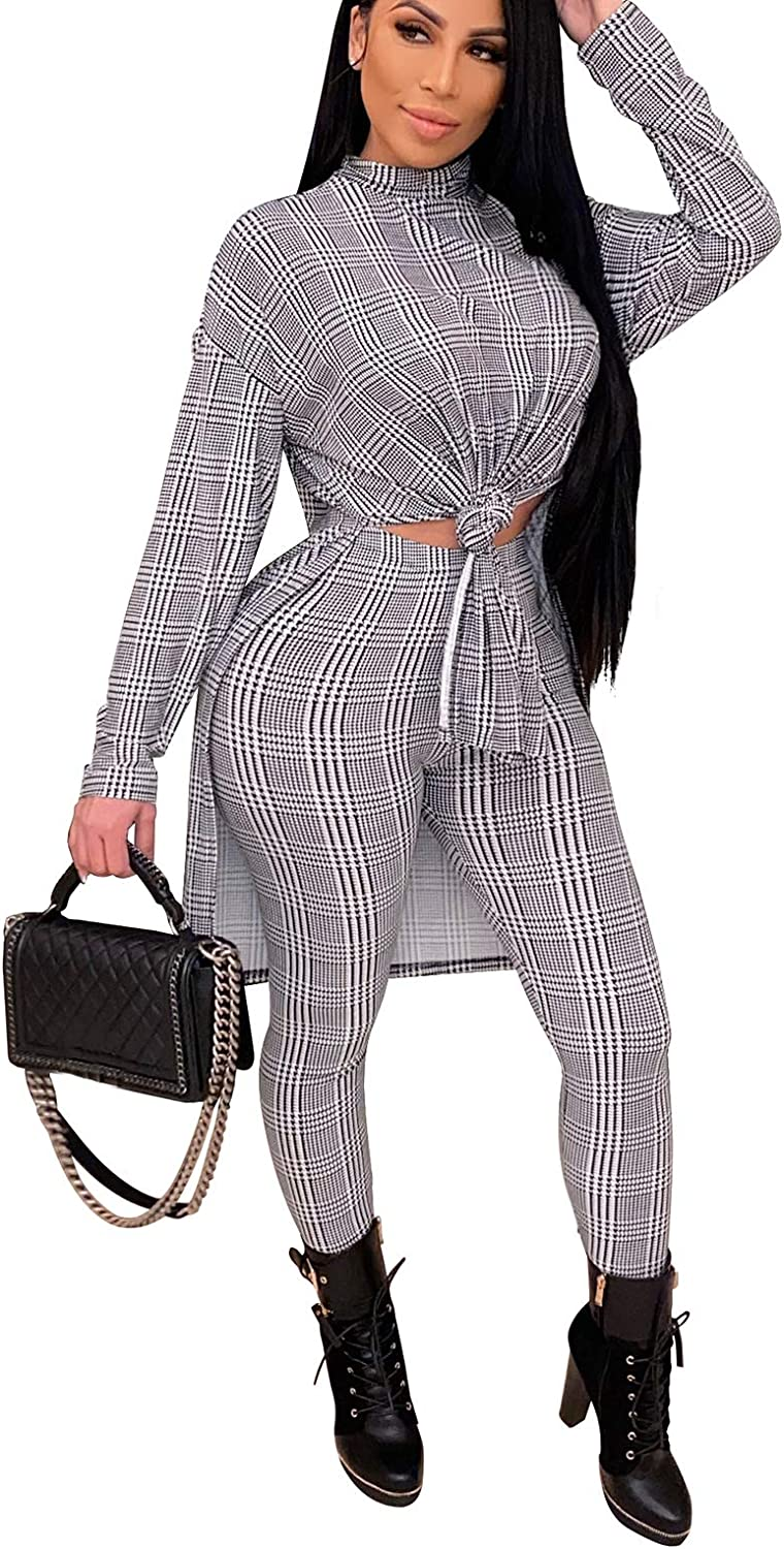 Bluewolfsea Womens Fashion 2 Piece Plaid Outfits Jumpsuit Long Sleeve High Neck Tunic Top Bodycon Pants Set