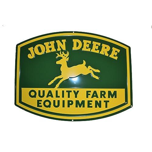John Deere Quality Farm Equipment Yellow//Green Metal Sign