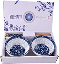 Chinese Porcelain White and Blue Rice Bowls and Chopsticks Set of 2 with Beautiful Bowls As A Good Gift for Friend