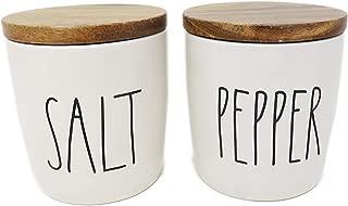 Rae Dunn By Magenta SALT & PEPPER White Ceramic LL Cellars With Wood Lids