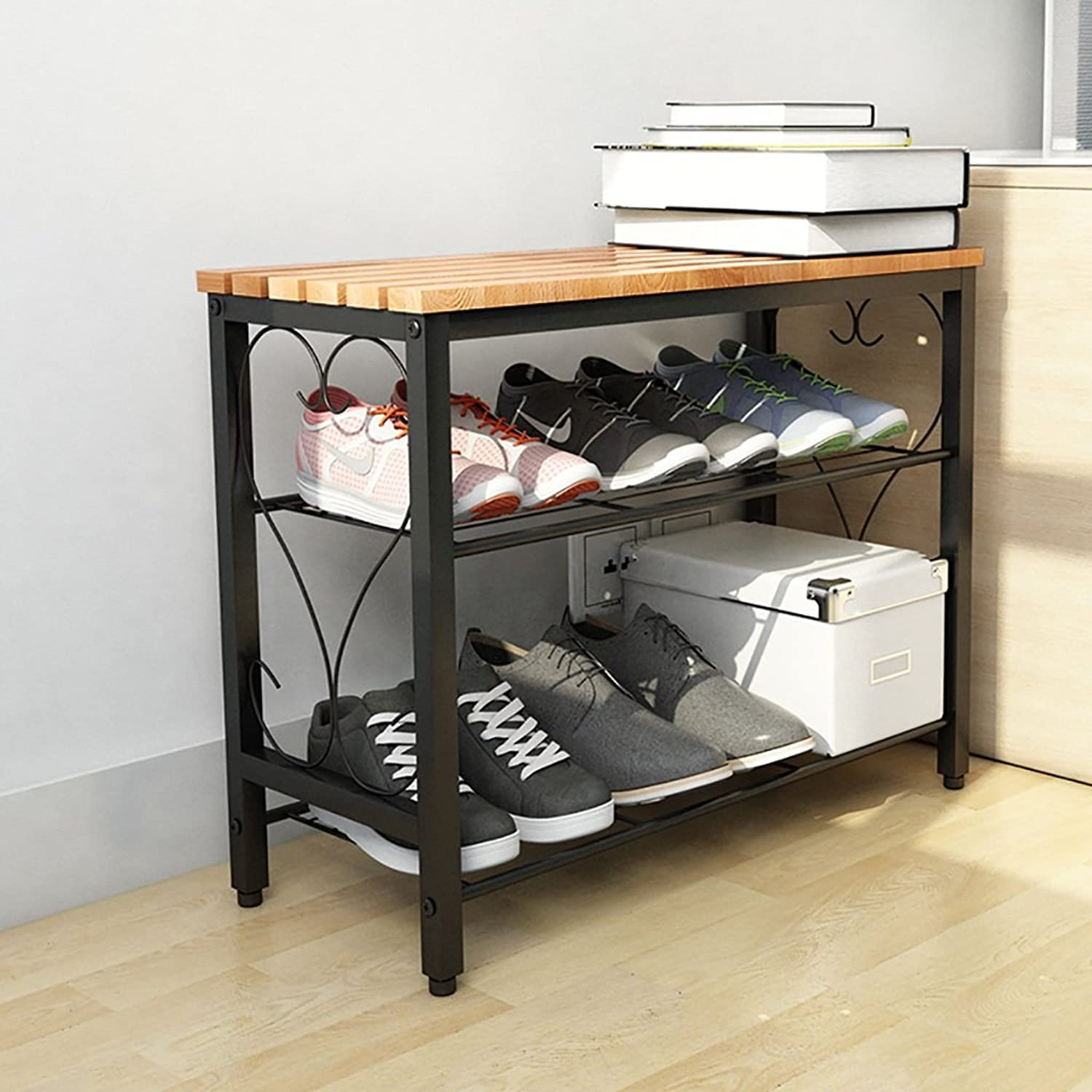 shoes Bench Organizing Rack Simple shoes Racks Household Solid Wood Multi-Storey Economy Shelf Simple Assembly Iron shoes Multi-Function Change shoes Stool (Size   80cm)