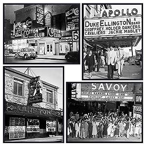 LARGE 11x14 - African American Wall Decor - Black Art - Historic Jazz Music - Black History Photo Set - Black Culture - Cotton Club, Apollo Theatre, Savoy, Club Harlem - Gift for Music Fan, Musician