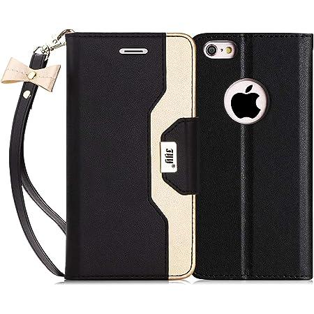 FYY Coque iPhone 6S, Coque iPhone 6, étui en Cuir PU de première qualité avec Miroir cosmétique et Sangle en Noeud intégré pour iPhone 6S/6 Noir Or