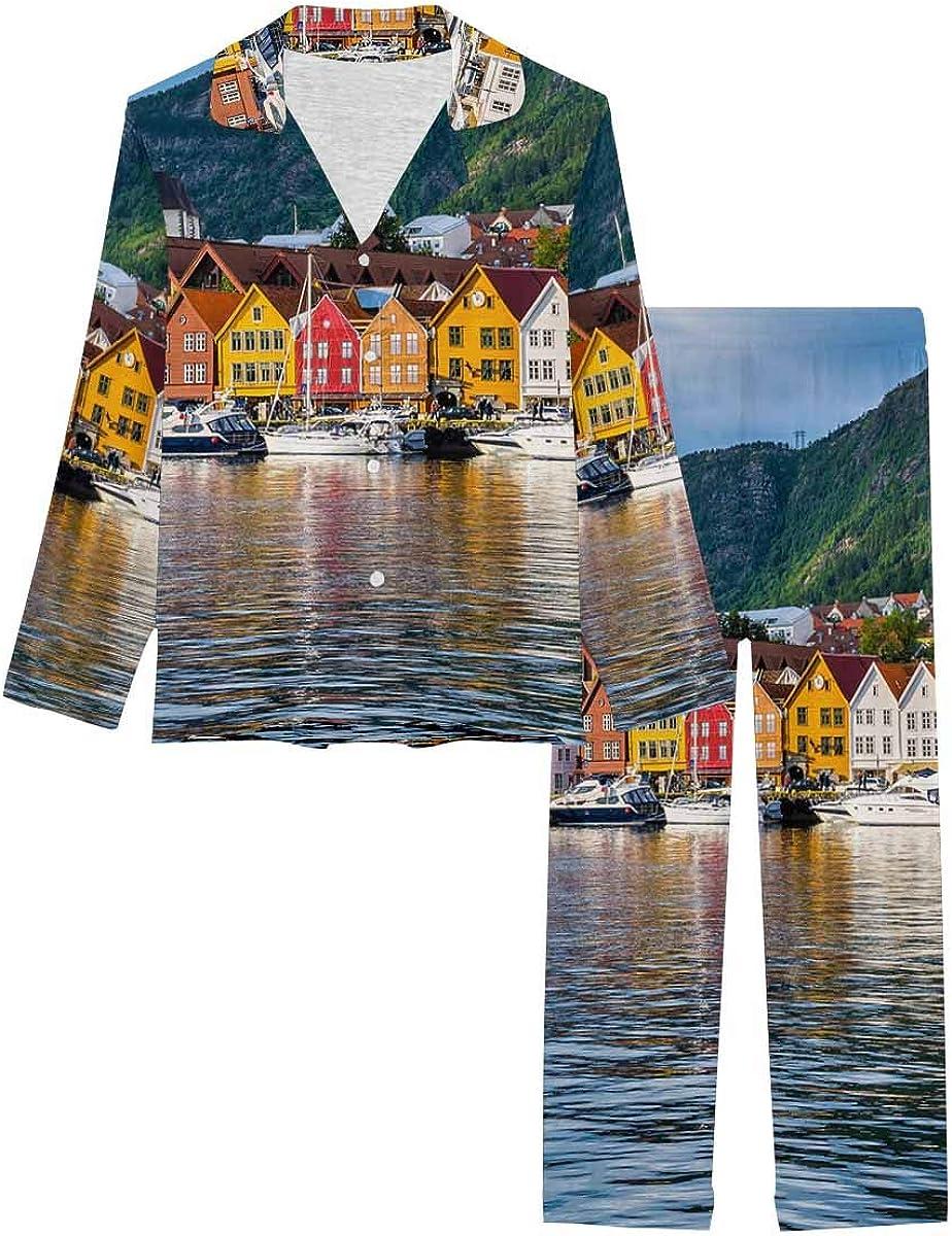 InterestPrint Notch Collar Soft Sleepwear Pj Set for Women Bergen, Norway, View of Historical Buildings