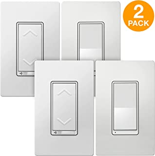 TOPGREENER Smart Wi-Fi 3-Way Dimmer Switch Kit, Includes Wi-Fi Dimmer Light Switch + Auxiliary Switch, In-Wall, NEUTRAL wire required, No Hub Required, Compatible with Alexa + Google Assistant 2 Pack