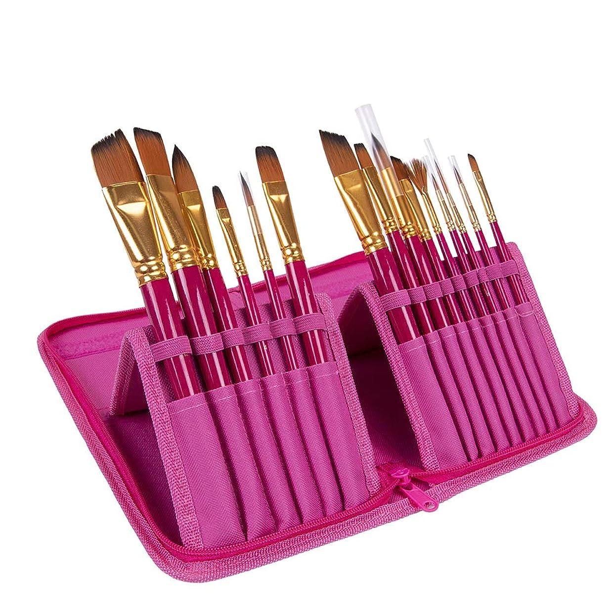 夢中たとえプレーヤーBEESCLOVER 絵筆セット 15本 水彩ブラシオイル アクリル絵画 ナイロン毛 木製ハンドルブラシ キャンバスバッグ付き ピンク