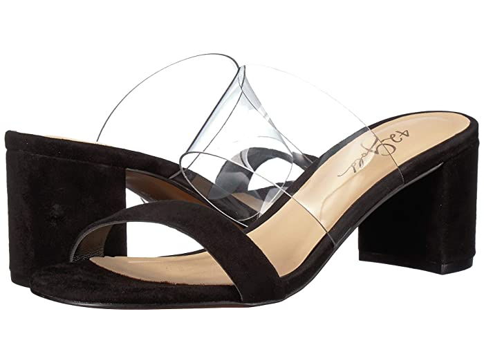 42 GOLD  Liya (Clear/Black Suede) Womens Sandals