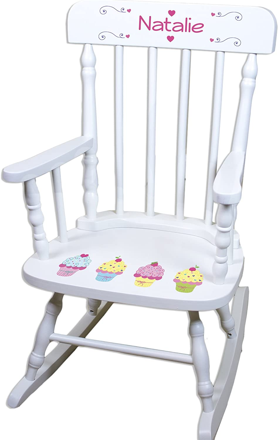 Chicago Mall Children's Personalized White Chair Max 81% OFF Cupcake Rocking