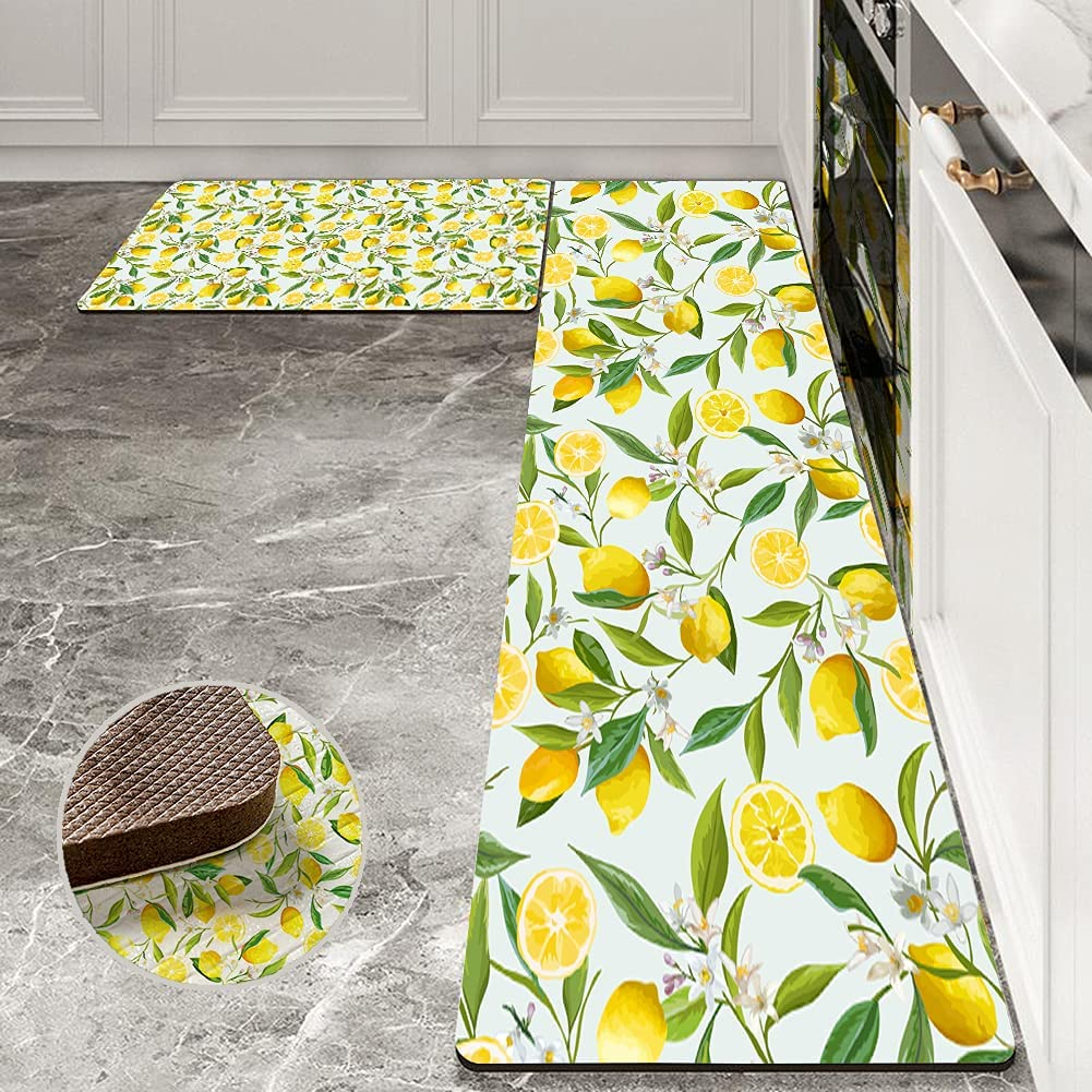 Lemon Kitchen Rugs and Mats Pieces Yellow Direct store Fruit Summer 2 Sale SALE% OFF