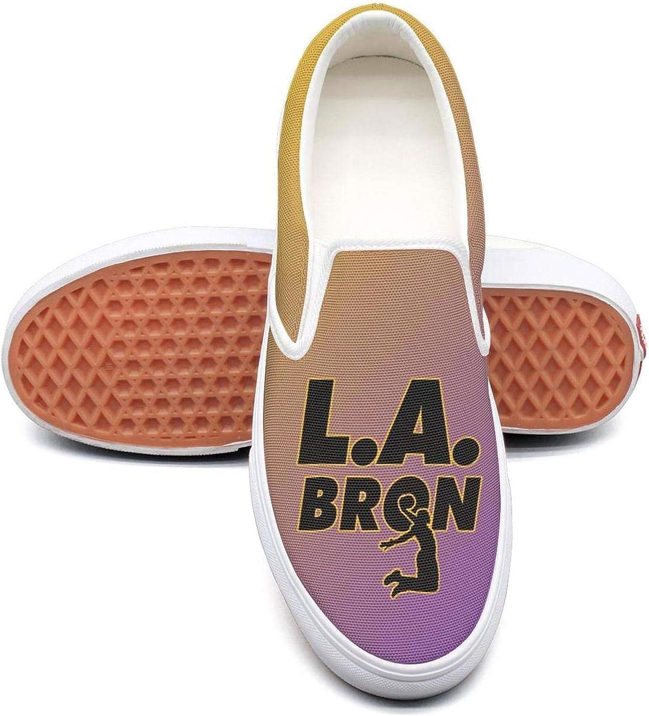 AJamee La_Bron_Yellow_Logo_Basketball Womens Vintage Canvas SlipONS Walking shoes