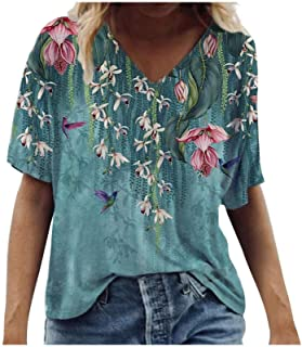 Tshirts for Womens,Women T Shirts Flower Print Graphic V Neck Tees Summer Tops Casual Short Sleeve Tops Tunics