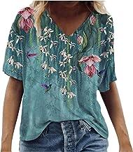 Vintage Drcuken Damen Oberteile Sommer Kurzarm Blusen T-Shirt V-Ausschnitte Loose Oversize Shirt Retro Blumen Drucken Frau...