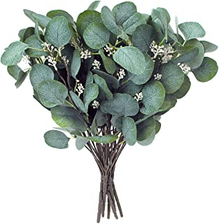 Artificial Greenery Stems – Faux Silk Eucalyptus Leaves White Seeded Green/Grey/Blue Floral 6 Picks / 5 Branches Each Flor...