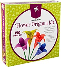 Kids Origami Paper Folding Kit: Girls Multi Color Foldable Paper For Flowers With Decorative Charms and Accessories - Craft Supplies Set With Instruction Book - Beginner, Intermediate and Advanced