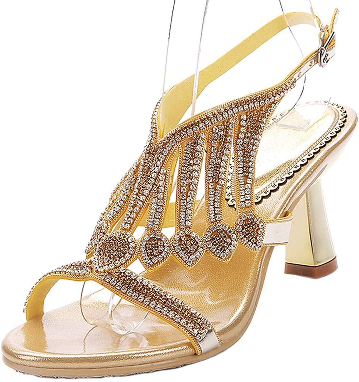 YooPrettyz Dazzling Strappy Evening Sandals Ankle Strap Wedding Dress Sandal Mid Heel