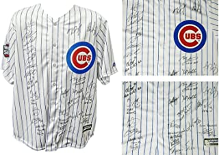 2016 Chicago Cubs Team Autographed/Signed Cubs Ben Zobrist Pinstripe Majestic Jersey LE16 w/2016 WS Patch & 9 Insc. 26 Sigs - Authentic Signature