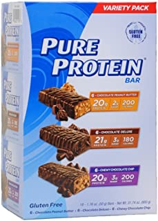 Pure High Protein Bar,Variety Pack (6 Chocolate Peanut Butter,6 Chewy Chocolate Chip,6 Chocolate Duluxe), 31.74 Oz (18 Count of 1.76 Oz bars) Pack of 3