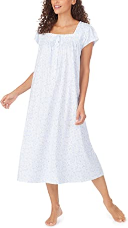 Cotton Jersey Knit Cap Sleeve Long Nightgown