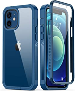 GOODON iPhone 12 Mini Case with Built-in Screen Protector,Pass 20 ft. Drop Test Military Grade Shockproof Clear Cover Full Body Protective Phone Case for Apple iPhone 12 Mini New Navy Blue