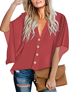 Women V Neck Floral Print Buttons Batwing Sleeve Loose Blouse Tops