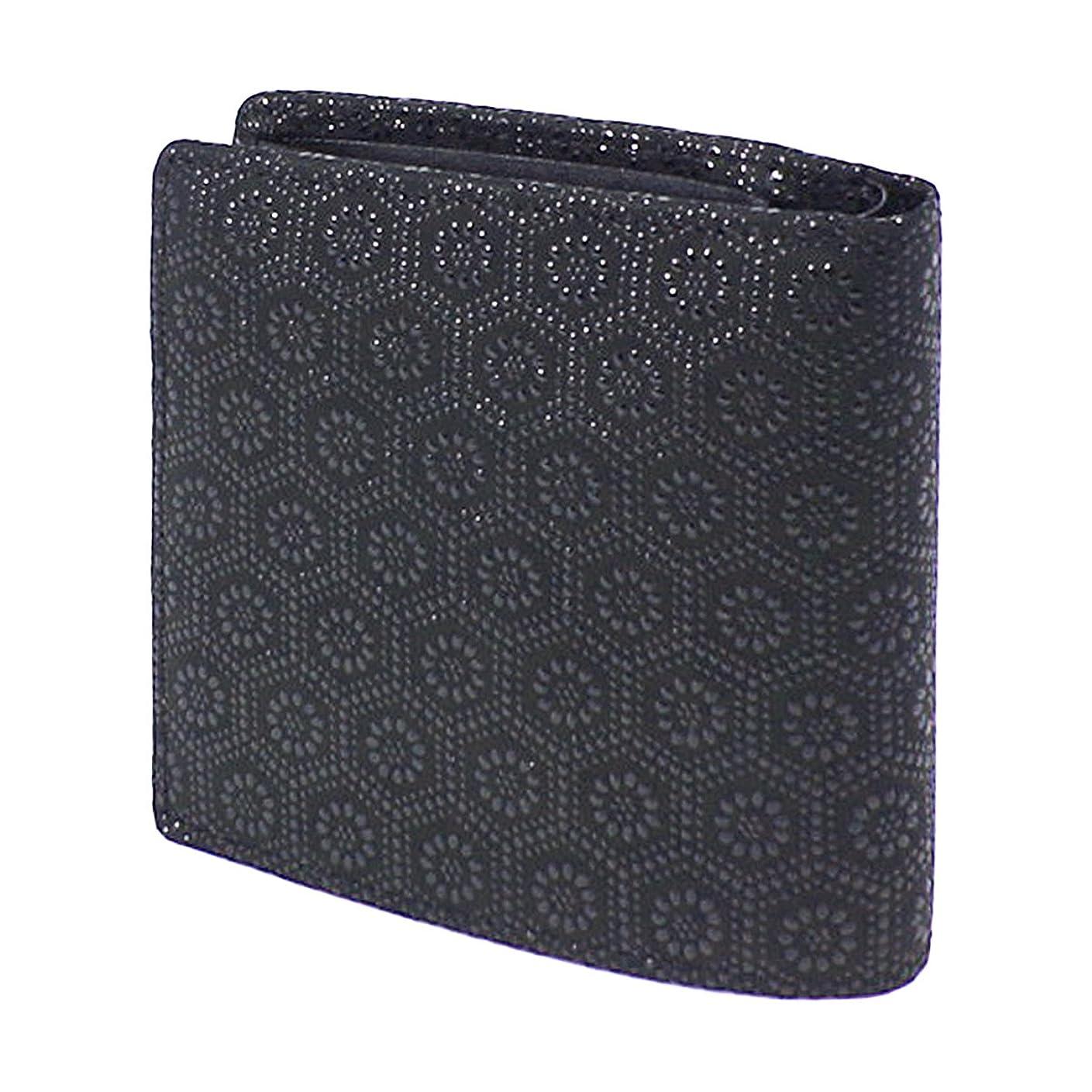 回復する愛国的な地平線INDEN-YA 印傳屋 印伝 財布 二つ折り財布 メンズ 男性用 黒×黒 亀甲 2008-01-003