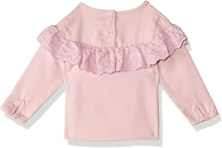 Giggles Plain Back Buttons Long Sleeves Round Neck Ruffled Blouse for Girls