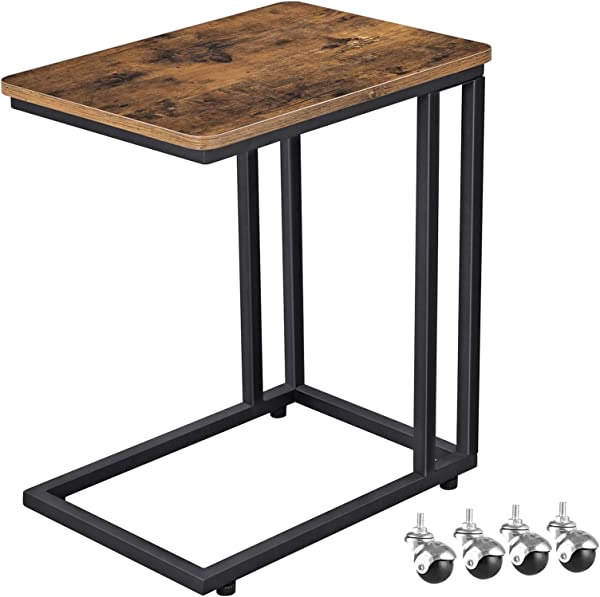 VASAGLE Industrial Side Table Mobile Snack Table For Coffee Laptop Tablet Slides Next To Sofa Couch Wood Look Accent Furniture With Metal Frame ULNT50X