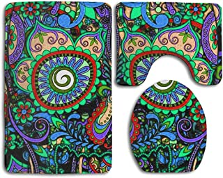 TERPASTRY 3-Pack Bath Mat Set ¨C Large Small and Contour Bathroom Rug Set Absorbent Non-Slip Thick Vintage Mexican Sugar Skulls Day of The Dead Flower Heart Bath Rug Shower Mat Toilet Bathmat Carpet