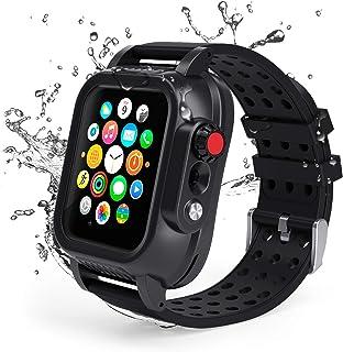 Lanhiem wodoodporne etui do Apple Watch serii 5 / serii 4 wytrzymałe etui z paskiem 44 mm, IP68 wodoodporne odporne na śni...