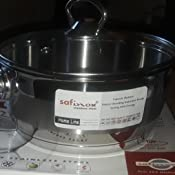 Safinox 18//10 Stainless Steel Tri-Ply Thermo Capsulated Bottom 2-Quart Sauce Pan with Glass Lid Induction Ready Dishwasher Safe