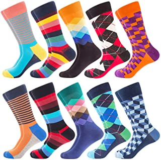 Men's Dress Cool Colorful Fancy Novelty Funny Casual Combed Cotton Crew Socks Pack Patterned Office Socks,Mid Calf Cool Cr...