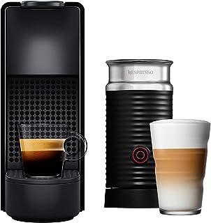 NESPRESSO Cafetera Essenza Mini con Espumador de leche, Color Negra (Incluye obsequio de 14 cápsulas de café)