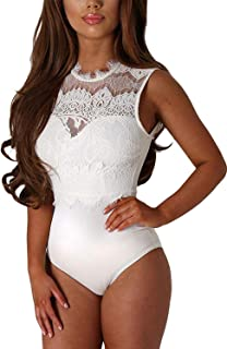 Womens Sexy Floral Sheer Lace Sleeveless Bodysuit Clubwear Tops