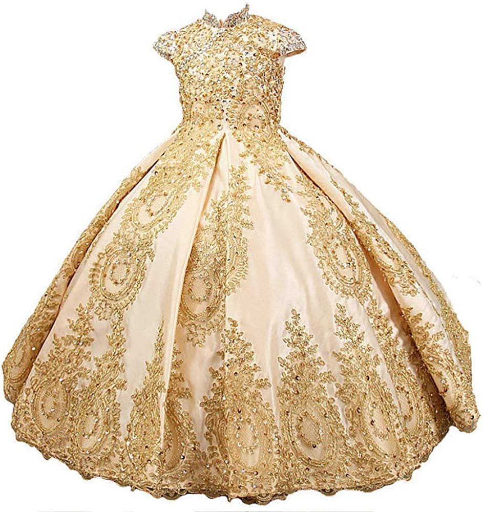 Adela Gold Lace Flower Girl Dresses for Wedding Beaded Toddler Pageant Ball Gown First Communion Dresses AR015