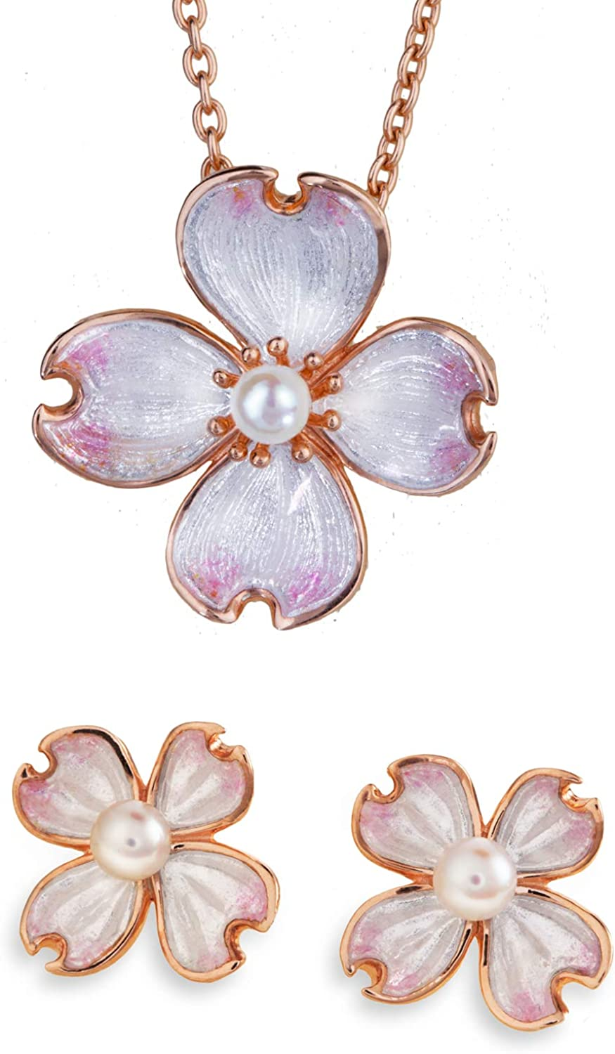 Stauer Women's Primrose Flower Necklace and Earring Set