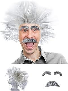 Tigerdoe Mad Scientist Costume - Scientist Costume - Scientist Wig - Physicist Costume - (3 Piece Set)