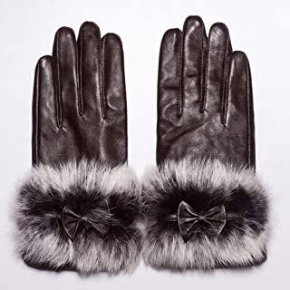 Sheepskin Gloves Autumn and Winter Warmth Thickening Plus Velvet Leather Gloves (Color : Brown, Size : M)